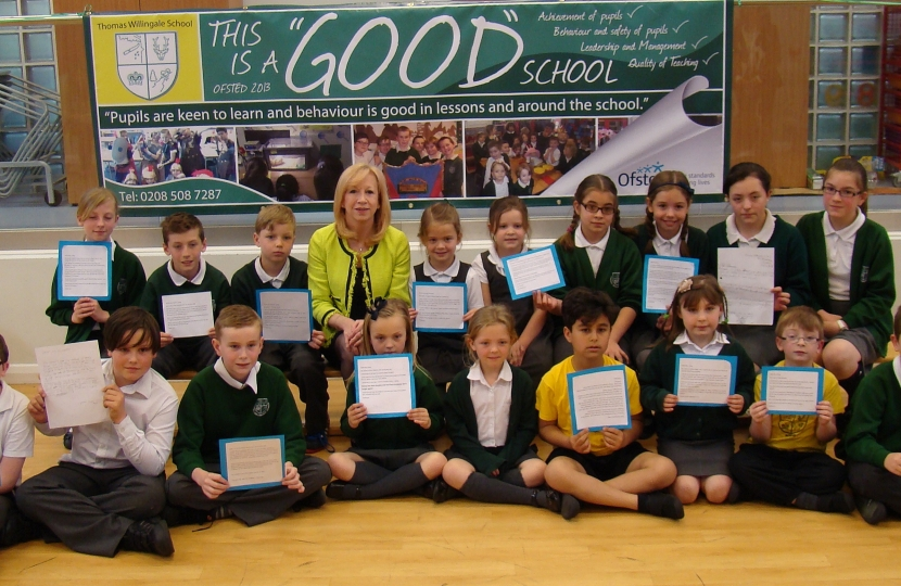 Thomas Willingale Primary School pupils who read their letters to the MP today